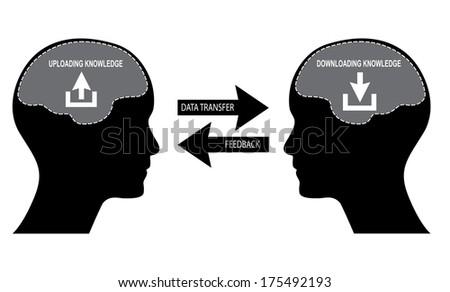 Knowledge transfer illustration, raster version. - stock photo