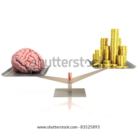 knowledge value in gold coins - stock photo
