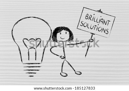 knowledgeable girl holding a sign saying Brilliant Solutions - stock photo