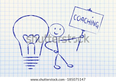 knowledgeable man holding a sign saying coaching - stock photo