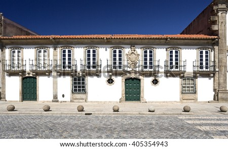 Known as Casa dos Vasconcelos, it was constructed in the year 1770 and is today used as an auditorium by the city of Vila do Conde, Portugal - stock photo