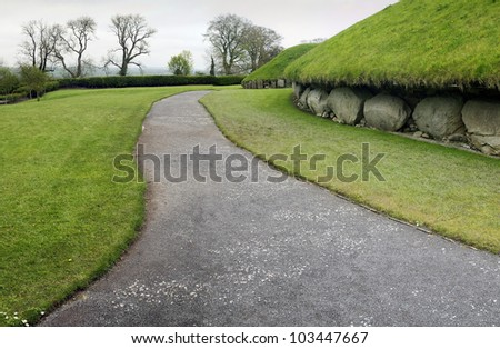 Knowth is a Neolithic Passage Grave, 3300 ? 2800 BC, Boyne Valley, Co. Meath, Ireland - stock photo