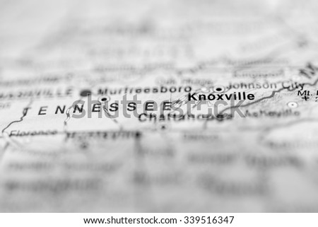 Knoxville close up on map. Shallow depth of field. - stock photo