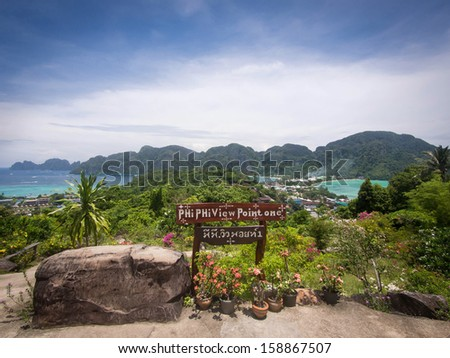 Ko Phi Phi Island seen from Phi Phi Viewpoint One, Thailand. - stock photo