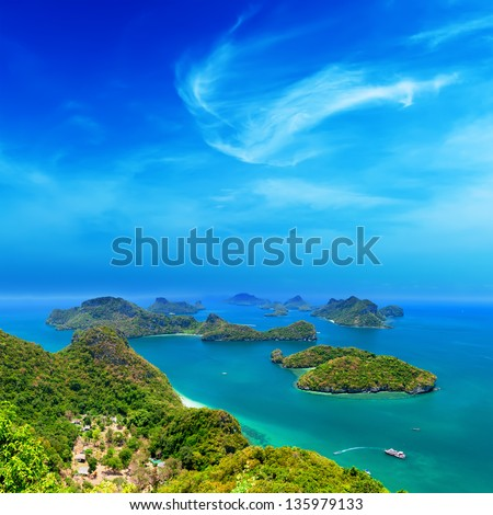 Ko Samui Thailand travel destination. Angthong archipelago beautiful aerial panoramic view - stock photo
