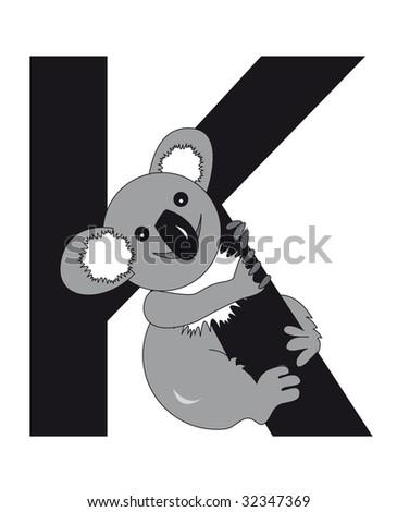 koala with the letter K - stock photo