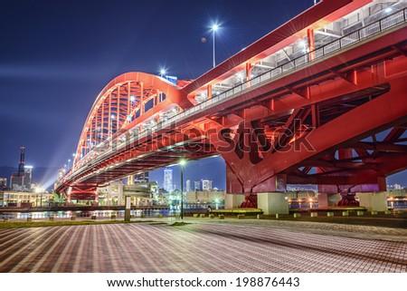 Kobe, Japan at Port Island Bridge. - stock photo