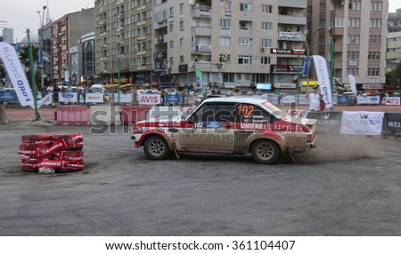 KOCAELI, TURKEY - AUGUST 22, 2015: Burak Turkkan with Ford Escort MK2 of Bonus Unifree Parkur Racing Team in special stage of Kocaeli Rally 2015 - stock photo