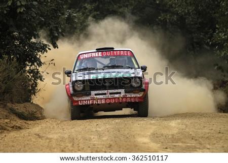 KOCAELI, TURKEY - AUGUST 22, 2015: Hannu Pulkkinen with Ford Escort MK2 of Bonus Unifree Parkur Racing Team in Kocaeli Rally 2015 - stock photo
