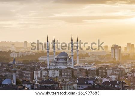 Kocatepe Mosque and city skyline - Ankara, Turkey.  - stock photo