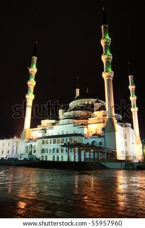 Kocatepe Mosque in Ankara, the capital city of Turkey - Night shot in a rainy day - stock photo
