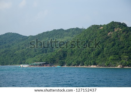 Koh Larn, Pattaya, Thailand Thickly covered with trees on the mountain. - stock photo