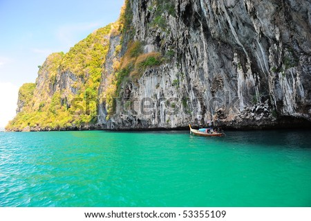 Koh mook cliff, Trang, Thailand - stock photo