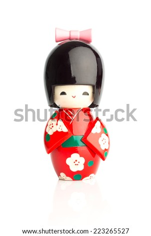 Kokeshi Doll isolated against a white background - stock photo