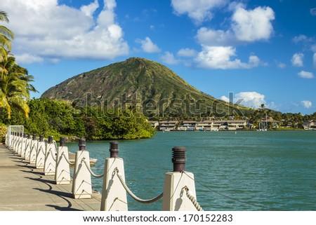 Koko Head Crater and Hawaii Kai Marina in southeast Oahu, Hawaii - stock photo