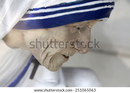 KOLKATA, INDIA - FEBRUARY 11: Mother Teresa statue, Shishu Bhavan, one of the houses established by Mother Teresa and run by the Missionaries of Charity in Kolkata, India on February 11, 2014. - stock photo