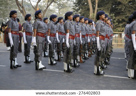 KOLKATA -JANUARY 19 : Women members of the R.A.F - a specialized wing of the Indian Central Reserve Police Force during the Republic Day Parade preparation on January 19, 2015 in Kolkata, India. - stock photo