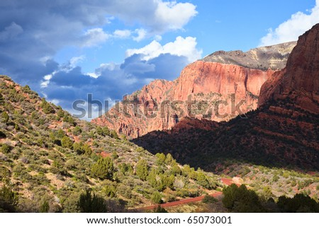 Kolob Canyons on a cloudy day in Zion National Park, Utah. - stock photo