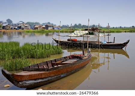 Kompong Chhang Fishing Village located  on the Tonle Sap River north of Phnom Penh, Cambodia - stock photo