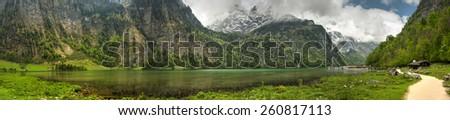 Konigssee lake panorama - stock photo