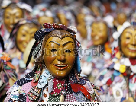 KONSTANZ, GERMANY - JANUARY 22 : Mask parade at the historical annual carnival on January 22, 2012 in Konstanz, Germany - stock photo