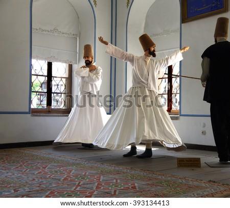 KONYA, TURKEY - JUN 3, 2014 - Whirling dervish school display at Mevlana shrine in  Konya, Turkey - stock photo
