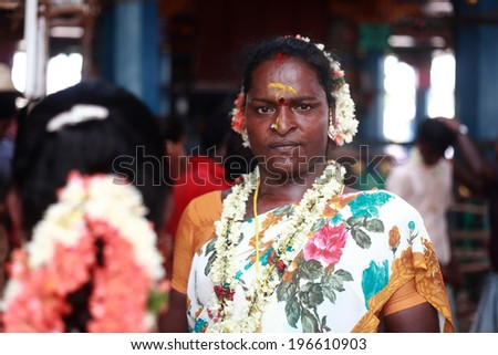 KOOVAGAM, INDIA - MAY 13: A unidentified transgender who married Lord Aravan as a ritual during festival of transgenders held at Koothandavar temple on May 13, 2014 in Koovagam,Tamil Nadu, India. - stock photo
