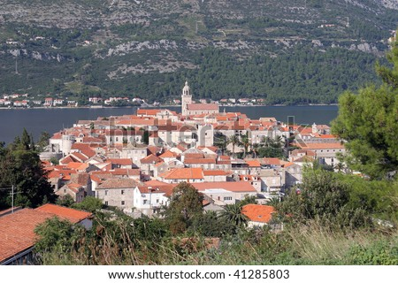 Korcula. Small island city near Dubrovnik in Croatia - stock photo