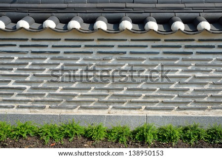 Korea fence wall background - stock photo