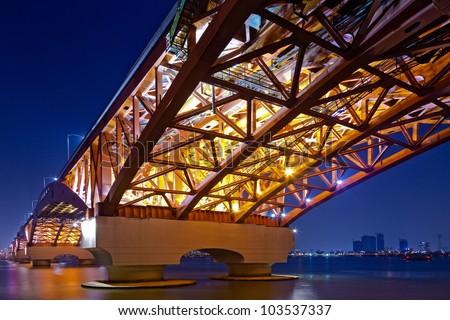 Korea Han-river's  bridge. - stock photo