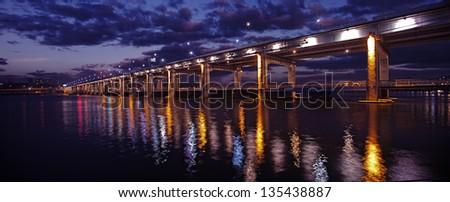Korea Han-river's bridge in night scene. - stock photo