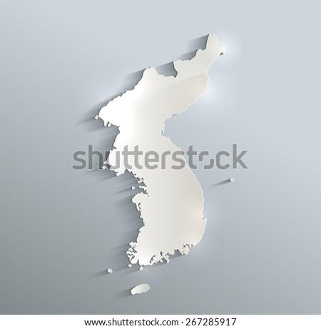 Korea map blue white card paper 3D raster - stock photo