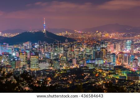 Korea,Seoul at night, South Korea city skyline. - stock photo