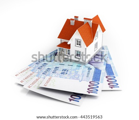 Korean banknotes under house. 3d rendering. - stock photo