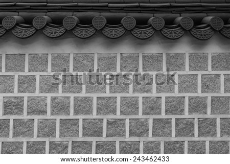 Korean brick wall in black and white color. - stock photo