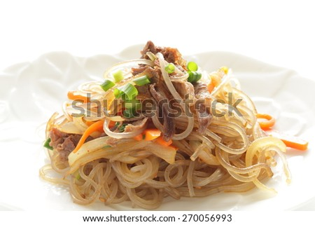 Korean food, carrot and cellophane stir fried  ?Save to a lightbox?        ?Find Similar Images   ?Share?      korean cuisine, pork and vegetable japchae - stock photo