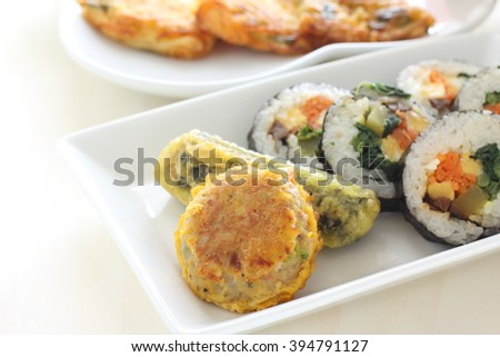 korean food, Gimbap seaweed roll sushi and Tempura - stock photo
