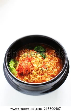 Korean food, Kimchi spicy ramen noodle - stock photo