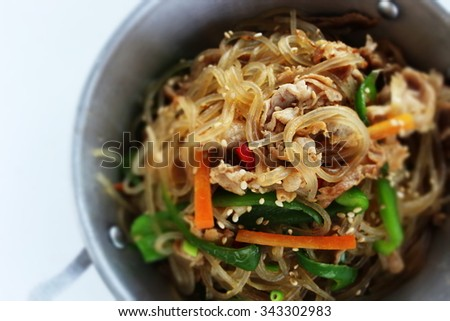 korean food, pork and dangmyeon stir fried Chapchae - stock photo