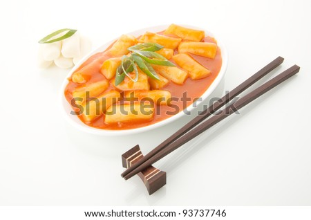 Korean food : Ttokbokki Rice cakes in hot sauce - stock photo