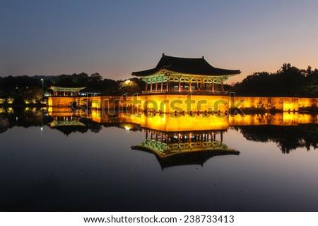 Korean heritage site Anapji Pond in the evening in Gyeongju, Korea. - stock photo