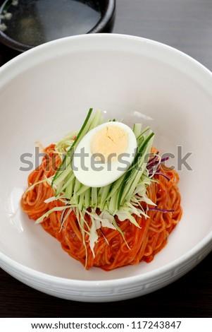 Korean noodles with eggs - stock photo