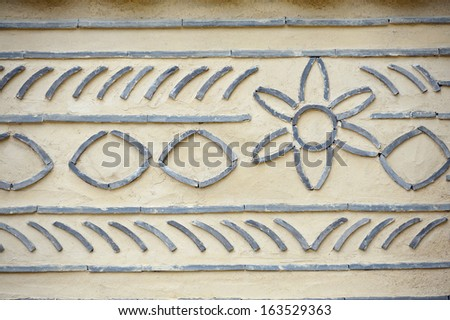 Korean pattern on the wall of old building - stock photo