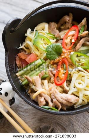 Korean soup - stock photo