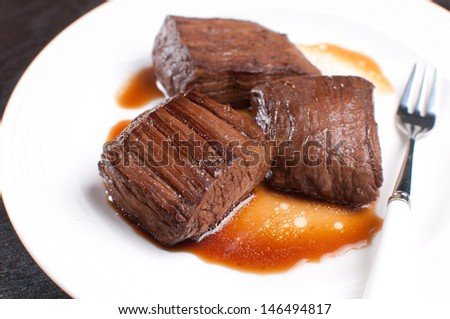 Korean soy sauce beef steak closeup - stock photo