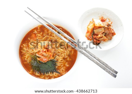 Korean spicy ramen noodles - stock photo