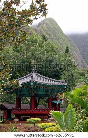 Korean Structure in Kepaniwai Park and Heritage Gardens - stock photo