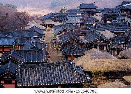 Korean style castle - stock photo