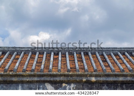 Korean style wall and roof in bukchon hanok village south korea - stock photo