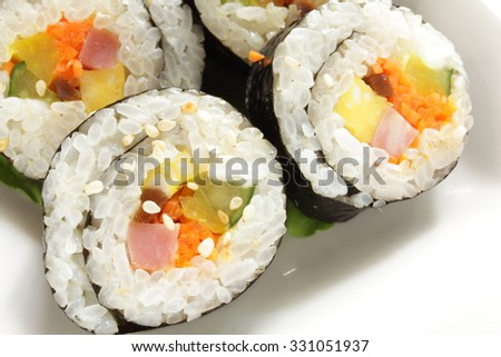 Korean sushi roll, Gimbap on white background - stock photo